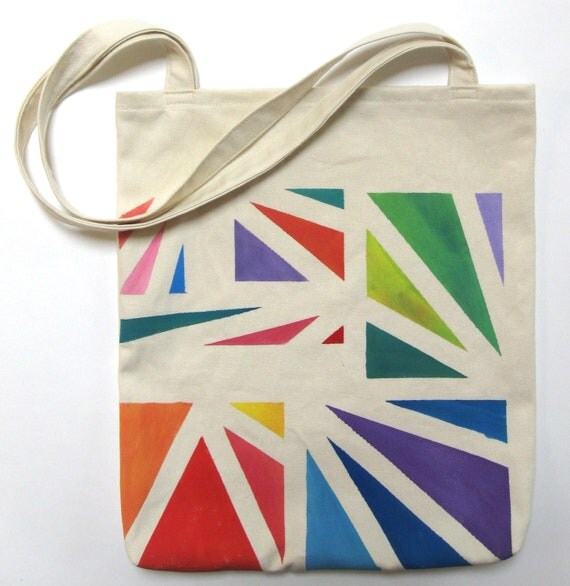 Hand Painted Tote Bag Eco Friendly / Reusable Shopping Bag / Grocery Bag / Carry All Rainbow Triangles Red Purple Orange Green Blue Yellow