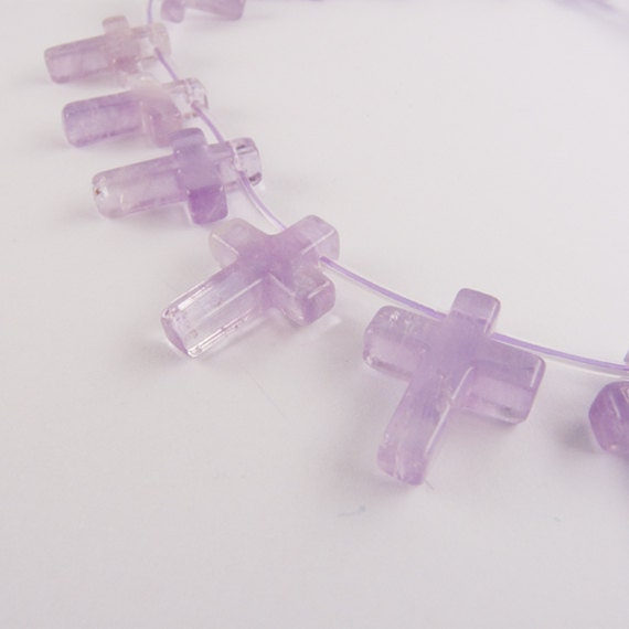 Amethyst Cross - 19 beads - Gemstone - UK seller