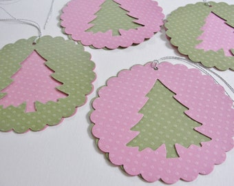 Paper Christmas Tree Scalloped Round Gift Tags, Round Paper Holiday Tree Outs, Large Pink and Green Christmas Gift Tags, Set of 4