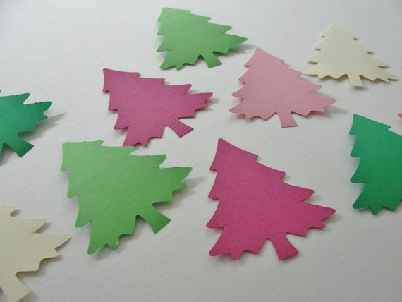 Christmas Holiday Paper Trees Green and Pink Paper Cut Outs Die Cuts, Holiday Decorations Tags Decor Set of 50