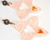 Porcelain Cross Heart Love Earrings