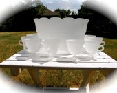 Vintage Frosted Glass Punch Bowl with 12 Cups Dot Design