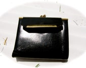 Womens black Top Grain Cowhide Leather ID Case Coin Purse Organizer Wallet