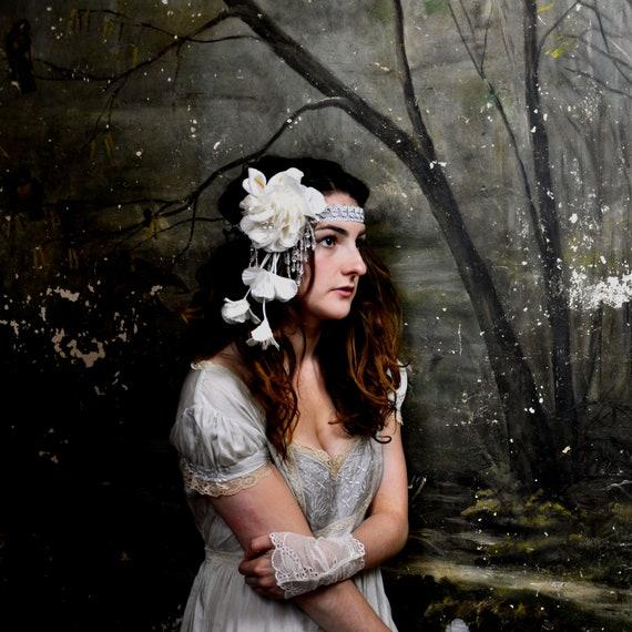 Starlight - Floral beaded bridal bandeaux headband - Fascinator