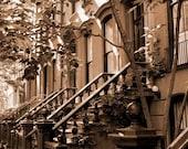 New York Photography sepia, Greenwich village, NYC art, house, New York urban decor - UnAirDeParisByAlbane