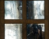 Rustic Mirror, Distressed Hand Silvered Glass Mirror, Salvaged Glass and Frame, Antiqued Glass, 19x21 inches, Eco friendly