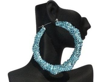 Chi22 London Light Blue Crystal Bamboo Hoop Earrings.