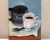 Single Cup Original Glossy Acrylic Cafe Painting