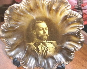 Vintage Ridgways Portrait  Plate of King George V in full Military uniform. 1910 Very rare plate.