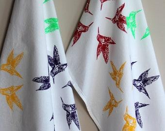 Multi Colored Hummingbirds Tea Towel - Flour Sack Tea Towel - CujiCoo Tea Towel - Birds Kitchen Towel - Tea Towel - Gift For Food Lovers