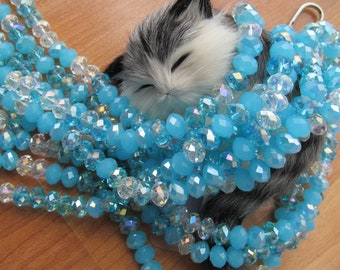 Blue rondelle crystals faceted aurora borealis beads// jewelry supplies//necklace beads//beading material