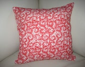 "16""x16"" Decorative Pillow Cover. Dark Pink on white with Coral Pattern."