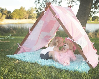 Kids Photography Props Tent Frame and Patchwork Cover Pink Outdoor Photo Props Outdoor Photography Props for Kids Pictures Photo Props