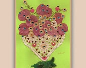 Art Print 015 of Original Collage Floral Luli- Pressed Flower -Floral Art with sequins, feathers