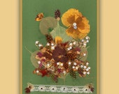 Art Print 021 of Original Collage Floral Luli- Pressed Flower -Floral Art with sequins,feathers,little paper flowers,stitching