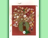 Art Print 032 of Original Collage Floral Luli- Pressed Flower -Floral Art with sequins,feathers, little plastic flowers, stitching