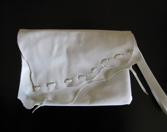 White Leather  Rustic Clutch Bag / Cosmetic Bag / Wristlet/Purse