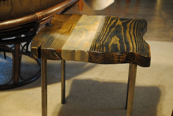 Small end table with metal legs, Ebony/gray stain