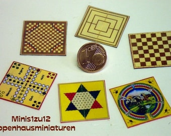 3007# Playing boards- 6 Pc - Doll house miniature in scale 1/12