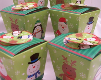 6 Christmas reindeer, snowmen, Santa and penguin goody boxes - Christmas treat boxes - party favour boxes - Christmas candy/cookie boxes