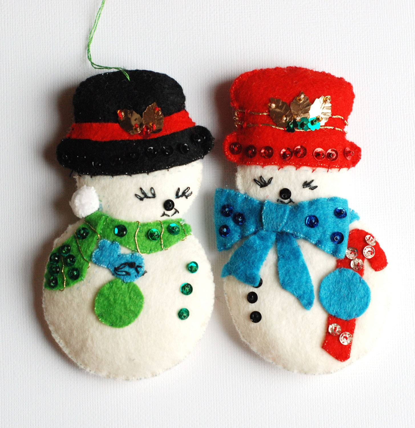 Snowman vintage felt ornaments with sequins
