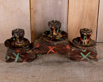 1970s Tramp Art Homemade Painted Rustic Campy Candleholder