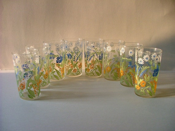 Eight Vintage Juice Glasses with White, Blue and Orange Flowers