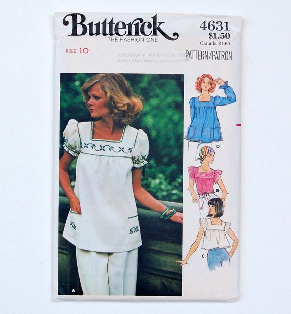 70s Butterick 4631 Uncut Pattern Misses' Tops & Embroidery Transfers Size 10