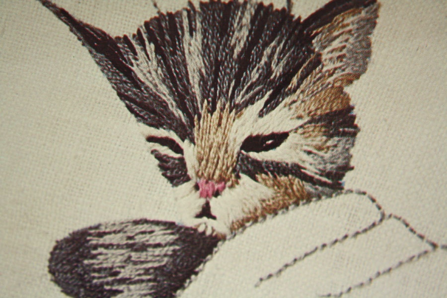 erica wilson crewel hand embroidery kit pattern chessie cat