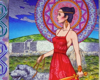 "Celtic Irish Warrior Princess, Fine Art, Signed and numbered Limited Edition Print 33x23"". Celtic Design, Irish Art, Celtic Art."