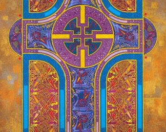 Christian Art Print The Shining Path 16x11. Celtic Art Print, Christian Cross, Christmas, Fine Art, Christianity, The Book Of Kells.