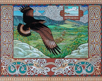 "Irish Landscape Tuan the Sea Eagle 16x11"". Celtic, Wildlife, Eagle, Ireland, Irish, Landscape, Fantasy, Fine Art Print."