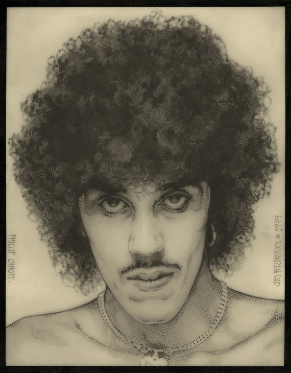 "Fine Art Portrait Philip Lynott 1979 11x8"" Print. Fine Art Print, Pencil Drawing, Original Portrait, Black and White, Singer, Musician."