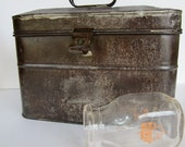 Reserved Vintage Tin Lunchbox Industrial Looking
