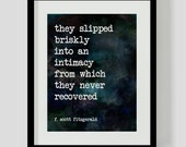 Print F. Scott Fitzgerald Love Literary Quote Wall Art, Decor - 2 Different Backgrounds