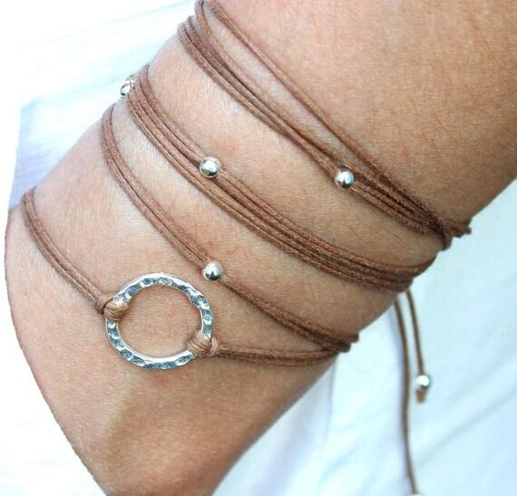 """BOHO Beach Wrap Bracelet - Chocolate - Infinity SILVER Circle Beaded Cord Wrap Bracelet - 41"""" - Boho Wrap Bracelet - Ref 225"""