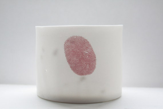 Stoneware, fine white bone china container or tealight holder with a red fingerprint