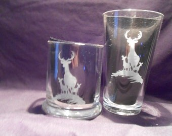 Set of 4 sandblasted drinking glasses, rock size ...12 oz. rock glasses or 16 oz tall glasses