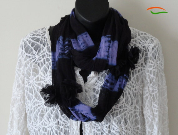 Black Purple Scarf. Tie and dyed ethnic, Indian shawl. Floral applique work and tassels. From Artikrti