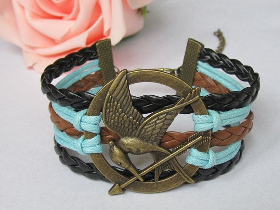 Hunger Games Bracelet---Antique Brass Mocking Jay Pendant Bracelet & Multistrand Braid and Wax Cords Chain--S004