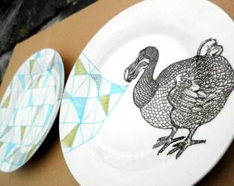 Dodo Geometric Design Plates hand illustrated porcelain