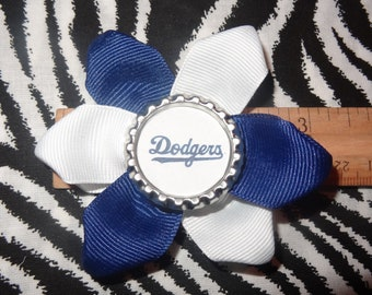 Sporty Bottlecap LA Los Angeles Dodgers Logo Hair Bow on Lined Alligator Clip