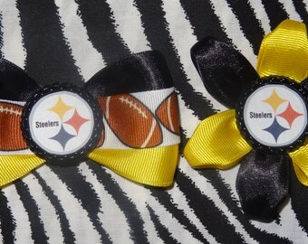 Sporty Bottlecap Bowtie Set Football Pittsburgh Steelers Hair Bow on Lined Alligator Clip