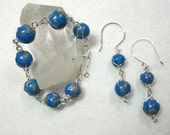 Blue and Silver Polymer Clay Wire Wrapped Bracelet and Earrings Set - AlohaMoeSets