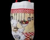 Reusable FABRIC PLASTIC BAG Holder - Fun Loving Chefs At Work