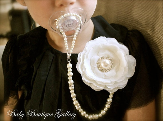 Baby Boutique Ivory Flower 4-in-1 Beaded Pacifier Holder