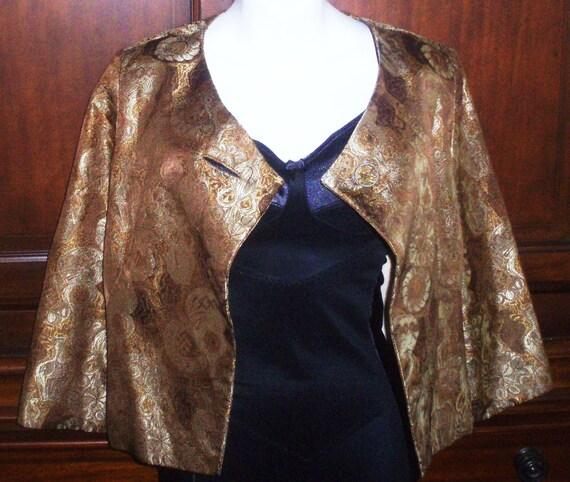 Vintage 1960s Vogue Couturier Design Bolero Jacket, Cropped, Gold Brocade, SZ 12