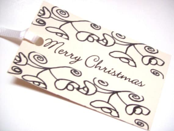 Christmas Flowers Gift Tag Set of 10