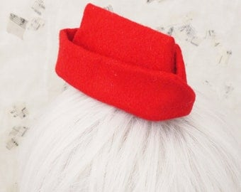 Red Army Punk Mini Garrison Wedge Cap Hat with Hair Clips