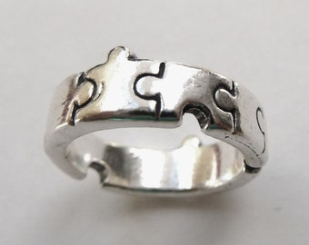 Sterling Silver Jigsaw Puzzle Ring